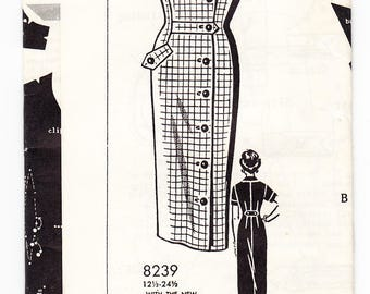 Vintage 1959 Patt-O-Rama 8239 FF Sewing Pattern Misses' One-Piece Dress Size 18-1/2 Bust 39