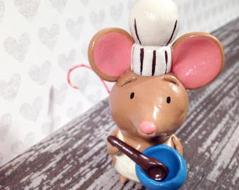 Baker Mouse Figurine - One of a Kind Art Sculpture