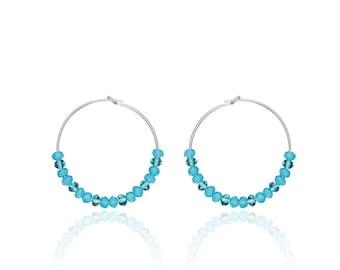Silver hoop earrings blue, blue topaz and aqua chalcedony gemstones beads, Boho earrings, Gemstone hoops