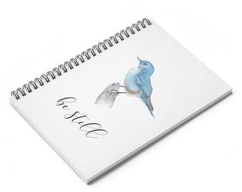 Bird Journal Notebook, bluebird journal, bird notebook, coil journal, be still journal, mother's day journal, gift for mom, bird journal