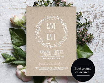 Save the Date Template, Blush Save the Date, Rustic Save the Date, Blush Wedding, Wedding Printable, Kraft, PDF Instant Download #BPB218_2