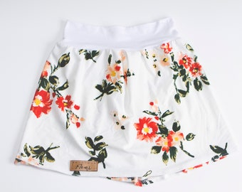White flowers scalable skirt Orange