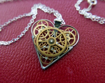 "Clockwork Heart Necklace ""Taber"" Steampunk Pendant Industrial Gear Mechanical Watch Parts Love Gift Wife Girlfriend Birthday Gift"