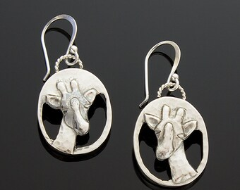 Handmade Sterling Silver Giraffe Earrings