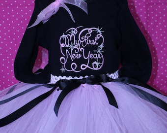 First New Year outift, Baby's First New Year, New Year Shirt,Pink Tutu,New Year Headband,New Years Eve outfit for baby, New Years Day