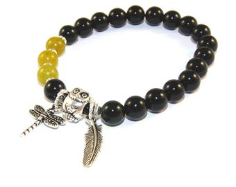 Owl, Feather & Dragonfly Serenity Prayer Themed Recovery Bracelet, Gemstone Beads, Sobriety Gift