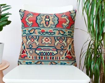 tribal kilim pillow turkish kilim pillow, handwoven antique eclectic home decor, bohemian & boho decorative pillow kilim cushion cover 18x18