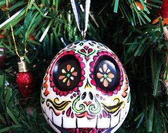 Recycled Jack Skellington, Dia De Los Muertos, Handpainted Ornament, Christmas Ornament, Gothic Christmas Decor, Disney Christmas decoration