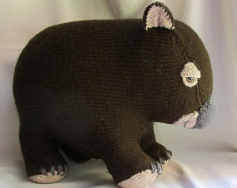 Toy Wombat - KNITTING PATTERN – pdf file by automatic download