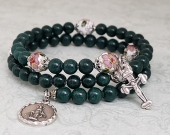 Rosary Bracelet, Green Mountain Jade, White Cloisonne, Queen of Heaven, Stainless Steel, Five Decade, Memory Wire, Handmade, Wrapped Rosary