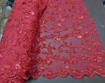 """Ribbon Embroidery RED Scalloped Edge Lace Fabric Perfect for Wedding Dress and Prom Mechanical Stretch Sold By the Yard 50"""" Width"""