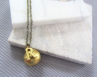 Gold Ball Locket Necklace, Secret Message Ball Locket, Brass Ball Locket, Gold Locket, Bridesmaids Gifts, Gift for Her,