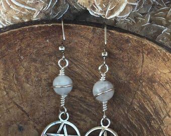 Pentacle Earrings (Silver Tone & Crystals)