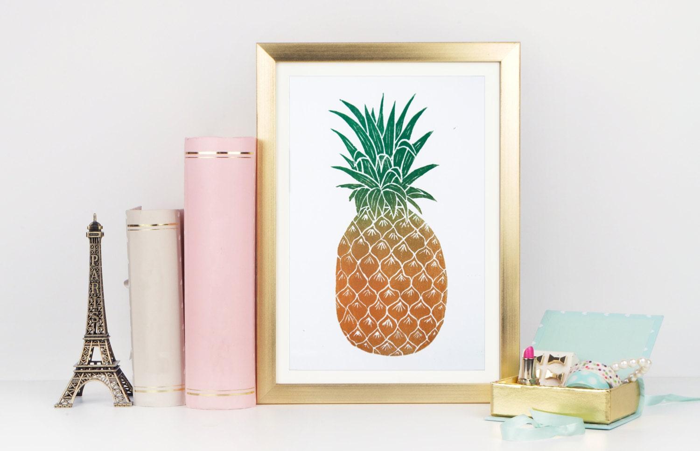 Ananas-Druck Ananas Linolschnitt Wandkunst Ananas-Plakat