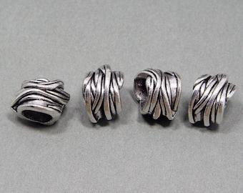 4 Vintage Tibetan Silver Dreadlock Beads Set for Necklace Pendant, Bracelet or any DIY Beading Craft