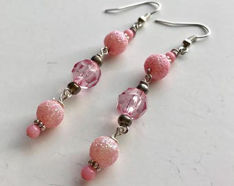 Pink Beaded Dangle Earrings, Pink Beaded Earrings, Pink Dangle Earrings, Pink Earrings, Long Pink Earrings, bead earrings pink