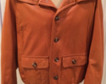 80's Caramel  Leather Jacket with Brown Knit Collar Men's Size 42  Made in United Kingdom
