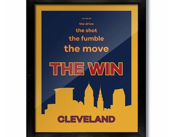 THE WIN Cleveland, Ohio Skyline Poster Print: Wall Art Choose a Size - Cavs Championship