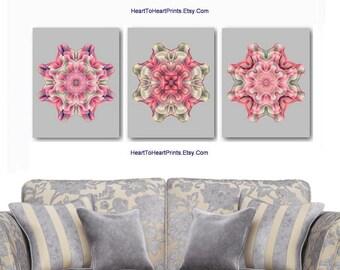 Blush Gray Wall Art Pink Abstract Peach Taupe Khaki Geometric Mandala Bedroom