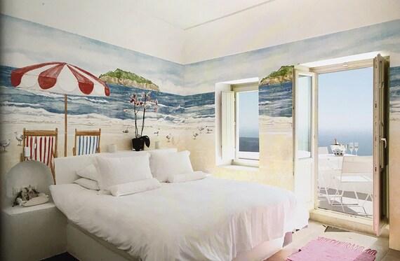 Beach Scenery Wallpaper Vacation Scene Wall Mural Red Beach