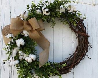 Cotton Wreath, Farmhouse Decor, Boxwood Wreath, Front Door Wreath, Cotton Anniversary, 2nd Anniversary Gift, Rustic Wreath, Cotton Wedding