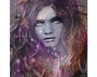 Starry eyes goddess, digital print, modern art, photomontage, fine art print, modern portrait, digital art, home decor, fantasy portrait