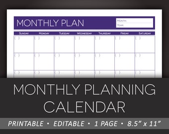 Printable Monthly Planner – Editable Calendar Monthly Planning Daily Schedule 8.5 x 11 Letter Size PDF – Instant Download