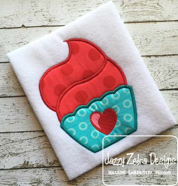 Cupcake 100 Applique embroidery Design - Valentines Day appliqué design - Valentine appliqué design - cupcake applique design