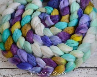 Merino/ Silver Sparkle 'Unicorns' 4 oz mint spinning fiber, CreatedbyElsieB purple hand dyed roving, silver stellina merino gold combed top