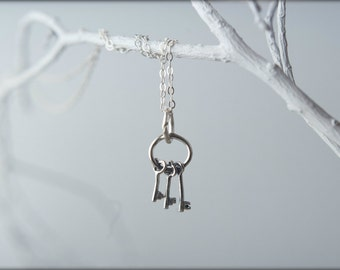 Three Keys Necklace in Sterling Silver