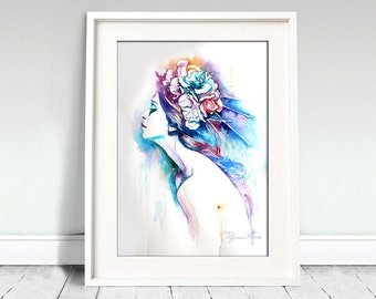 Watercolor Print. Wall art portrait of beautiful girl. Lady with flowers. Colorful portrait. Digital print.