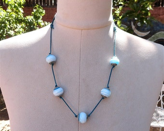 Recycled Lamp Work Bead Necklace Turquoise and White Made in USA