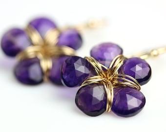 Amethyst Flower Earrings. Gift for Her. February Birthstone.