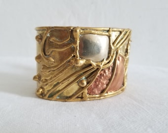 Vintage Brass Cuff Bracelet with Copper and Silver Detail