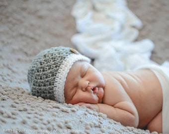 Newborn Baby Boy Hat, Coming Home Outfit for Baby Boy, Crochet Baby Hat, Gift for New Baby Boy, Baby Boy Beanie, Baby Photo Prop, Baby Boy