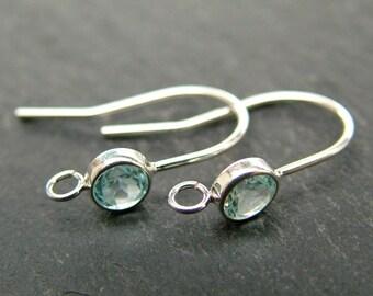 Sterling Silver Sky Blue Topaz Ear Wire ~ PAIR