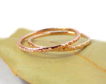Gold Hatched Stacking Ring:  textured ring, 14K solid gold ring, dainty ring, simple ring, gold ring, skinny ring, line textured
