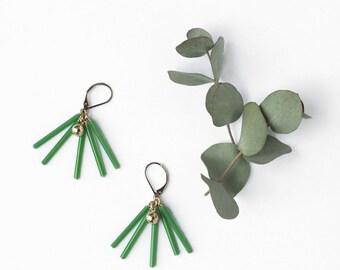 Green tube earrings, Geometric earrings, Glass tube dangle earrings, Vintage bead, Contemporary, Modern, Geometric jewelry, Dainty jewelry