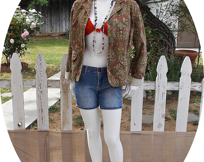 Vintage 90s Liz Claiborne Green  Floral Paisley Denim Coachella  Style Womens Long Sleeve Jacket