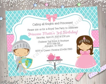 Royal Tea Party Birthday Invitation invite knights princess tea party invitation boy girl birthday CHOOSE YOUR knight and princess