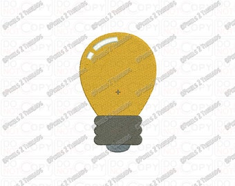 Light Bulb Embroidery Design in  2x2 3x3 4x4 and 5x5 Sizes