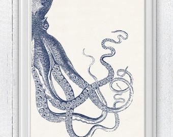 Vintage octopus n 20 - sea life print- Navy blue big octopus- vintage natural history SAS144