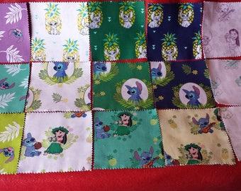 "NEW 42 piece Lilo and Stitch Disney Cotton Fabric Pre Cuts Charm Pack 5"" x 5"""