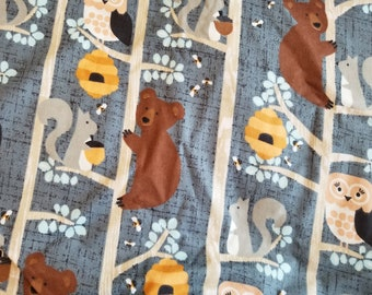 Woodland Creature Nursery Cotton Flannel Fabric | Bear Bird squirell bird | fabric by the yard | for boy or girl | Bear Honey Tree