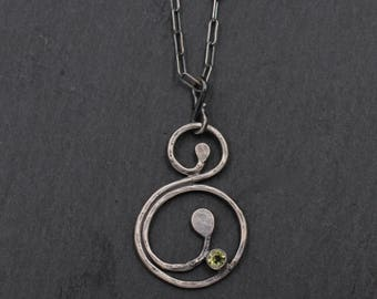 Sterling Silver and Peridot Spiral Necklace, Sterling Silver Metalwork, One of a Kind Necklace