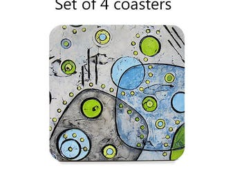 Mid century modern coaster set, drink coasters, set of 4, gray and lime green coasters, cork back coasters, housewarming gift