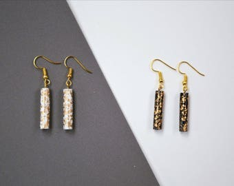 Sprinkled Edition Earrings - Black or White with Gold Sprinkles (Limited edition)