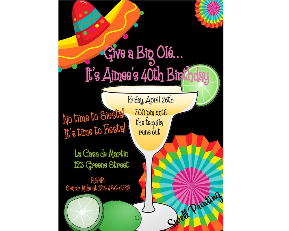 fiesta birthday party margarita party invitation mexican