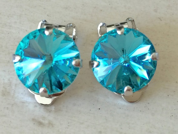 Light Turquoise Crystal Clip On Earrings, Silver