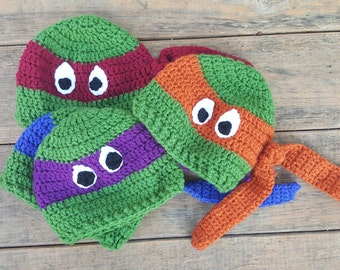 Teenage Mutant Ninja Turtles TMNT Crochet Hat in Toddler / Preschool Size Red Blue Purple and Orange
